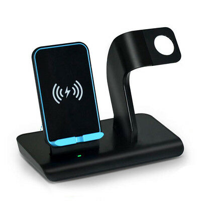 2in1 Qi Wireless Charger Phone Charging Holder For Apple Watch iWatch iPhone XR