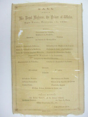 Silk Menu from Prince of Wales Ball (Edward VII) held October 12, 1860 Delmonico