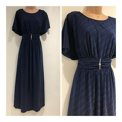 Vintage 80s Navy Blue Gold Pinstripe Angel Sleeve Occasion Evening Maxi Dress 14