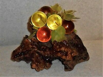 """1960's Mid Century Acrylic Lucite Grape Cluster - beautiful amber - 10"""" L"""