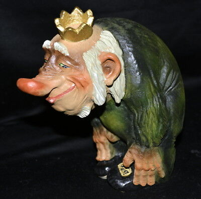 Vintage Henning Norway Hand Carved Wood Troll With Crown & Long Nose