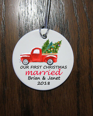 Our first Christmas married truck Christmas Ornament  2018 custom