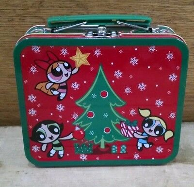 Rare Powerpuff Girls Tin Metal Small Holiday Christmas Lunchbox