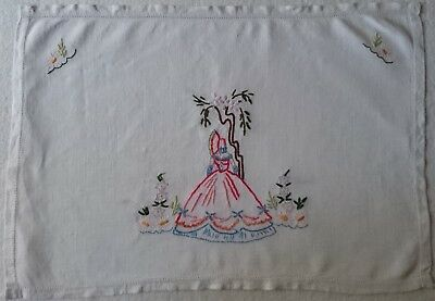 Vintage Tray Cloth Doily - Crinoline Lady - Large - Look