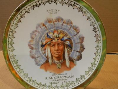 Imperial China Calendar Plate 1910 Native American Indian Tobacco Co. Olean, NY