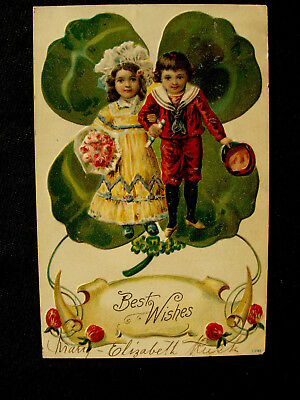 Victorian Dressed Boy & Girl  By Large Shamrock Greeting Embossed Postcard