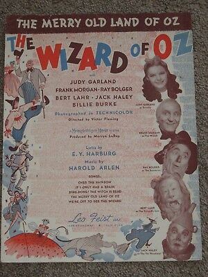 """Vintage 1939 Sheet Music """"Merry Old Land of Oz"""" By Leo Feist  Wizard of Oz"""