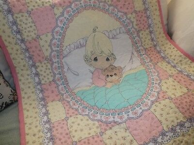 Quilted Baby Quilt, Precious Moments  /   Made in America