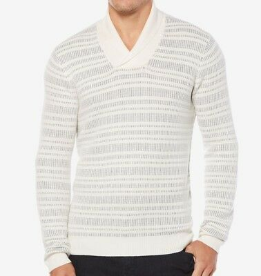 Perry Ellis NEW Cream Ivory Mens Large L Shawl Collar Striped Sweater  79   396 3cf31b906