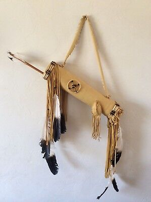 Decorative Native American Indian Buckskin Quiver & 2 Arrows -  Western