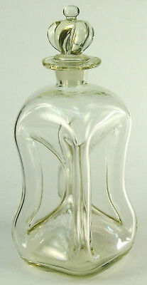 ! 1800's Antique Scandinavian Hand Blown Clear Glass Decanter Kluk Bottle Flask
