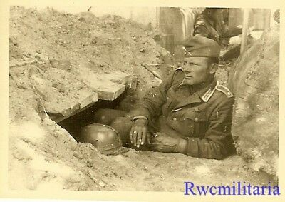 MEMORIES OF HOME! Wehrmacht Soldier in Defensive Position in Deep Thought!!!