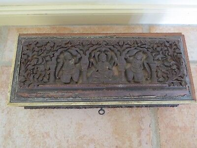 Antique old hand carved wooden Asian Buddah jewellery box
