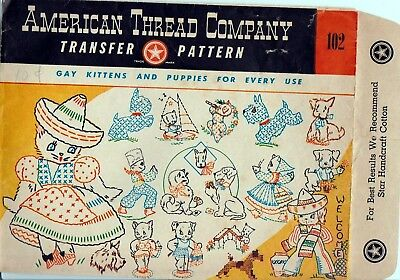Original Uncut American Thread Company 102 Transfers for Gay Kittens and Puppies
