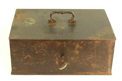 ! Antique Cast Iron Steel Fire-Safe Strongbox Safe Document Strong Box w. Key
