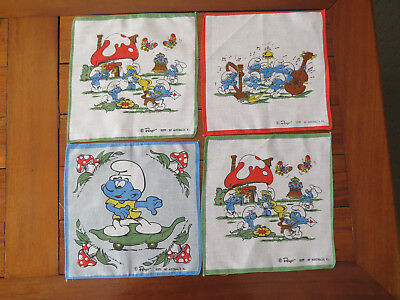 "4 Peyo ""Smurfs"" Children's Handkerchiefs Hankies - 1981 As new - Unused"