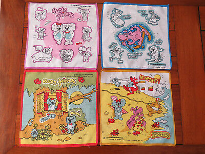 "4 ""Koala & Friends"" Children's Handkerchiefs -1984  As new - Unused"