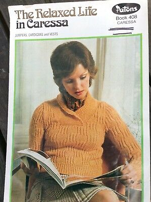 Vintage Patons Knitting Pattern Book 408 The Relaxed Life in Caresssa