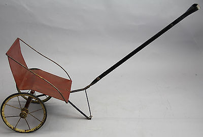 Antique Metal Baby Pull Behind Carriage Two Wheel Play Cart Red Black Rustic