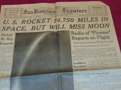 Oct. 12, 1958 San Francisco Newspaper: Nasa Pioneer Moon Rocket