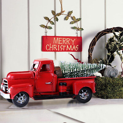 Christmas Red Metal Truck Kids Gift Vintage Truck with Movable Wheel Table Decor