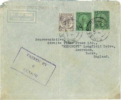 Singapore 1939 Air Mail Cover Used Rare mix usage