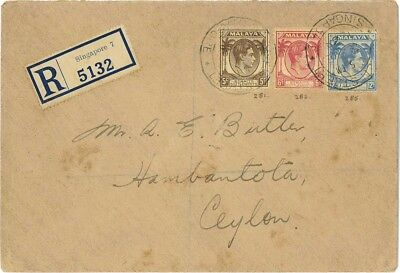 Singapore to Ceylon 1938 Registered Cover Used