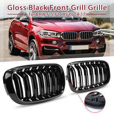 Double Line Front Center Grill Grille Gloss Black For BMW F15 F16 X5 X6 14-17 US