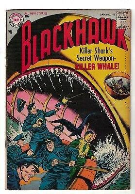 1st DC issue Blackhawk 108 Comic war silver  age 5.0 VGF 1957 Killer Whale