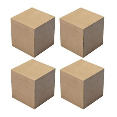 4 Pieces Natural Unfinished Craft Wood Blocks Blank Smooth Wooden Cubes -...