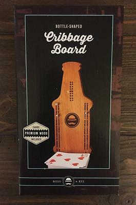Bottle Shaped Cribbage Board - Premium Wood - Cards and Instructions Included