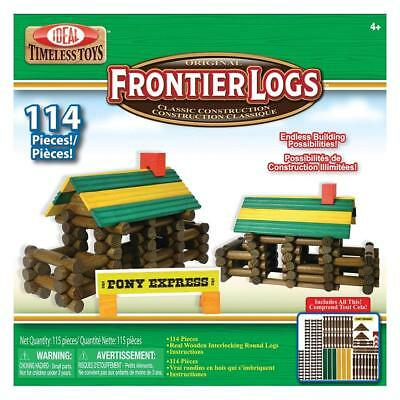 Ideal Frontier Logs Classic All Wood Construction Set with Storage Canister,...