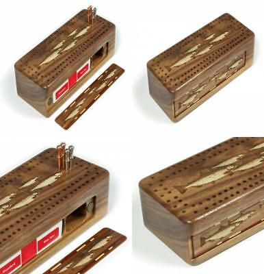 Fish- Salmon- Trout Engraved Wooden Cribbage Board with Quality Metal pegs...