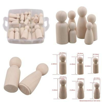 RDEXP 65/55/43mm Natural Unpainted Female&Male Wooden Peg Doll Bodies for...