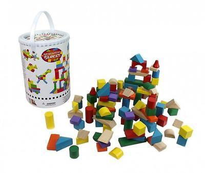 Wooden Blocks - 100 Pc Wood Building Block Set with Carrying Bag and...