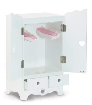 Melissa & Doug White Wooden Doll Armoire Closet With 2 Hangers (12 x 20 x 9...