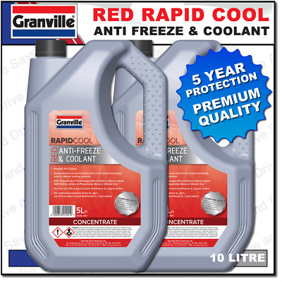 Granville Rapid Cool Red / Pink Anti Freeze & Summer Coolant Antifreeze 10 Litre