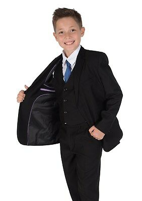 Boy Suit Boys 5 Piece Black Wedding Suit Page Boy Party Prom 2-15Years