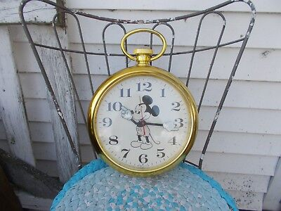 Vintage- Welby By Elgin Mickey Mouse Giant Gold Pocket Watch  CLOCK   WORKS!