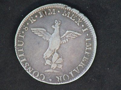 1822 Mexico Silver  8 Reales  Iturbide Toned Silver - A Rare Coin It - Is Worn