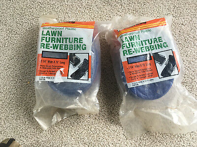 TWO 72' Re-Web Kit LAWN CHAIR WEBBING NEW BLUE white FROST KING chaise / chair