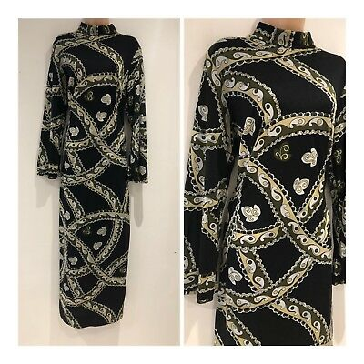 Vintage 70s Black Green Beige Paisley Abstract Occasion Column Maxi Dress 16-18