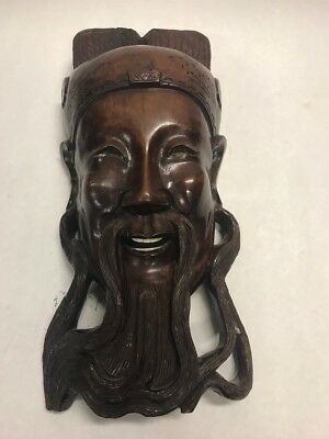 Vintage Heavy wood Mask China Hong Kong  wall hanging warrior white teeth