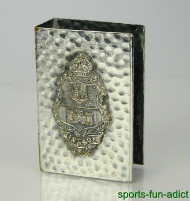 Vintage Windsor Castle Match Case Silver Tone Holder England Royalty Tobacciana