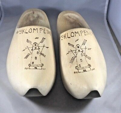Dutch Wooden Shoes Clogs Hand Carved Fits Womens Size 26 Klompen Windmill 9.5