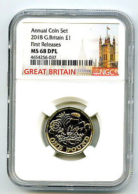 2018 Great Britain £1 12 Sided Pound Ngc Ms68 Dpl Annual First Releases Superior
