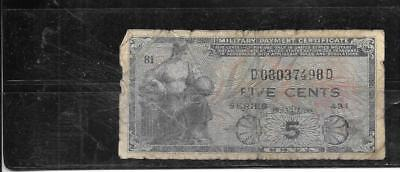 US MILITARY CERTIFICATE #22 1951 5c GOOD CIRC OLD BANKNOTE PAPER MONEY NOTE BILL