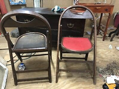 Two 1930s Era Wood , Leather Seat And Brass Fitting Folding Chairs