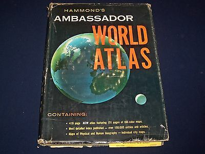 1960 Hammond's Ambassador World Atlas - Great Color Maps - City Maps - Kd 2728