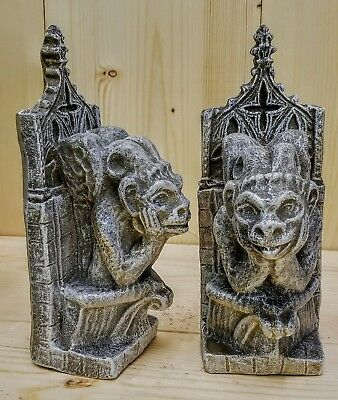 Royal Gargoyle Bookends Pair Vintage Grey Finish Mythical Statue